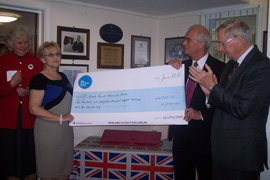 Geoffrey Wilkinson presenting Big Lottery Reaching Communities cheque to Mrs Gillian Butler Vice Chair