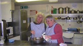 Bonnie and Mavis  in the kitchen